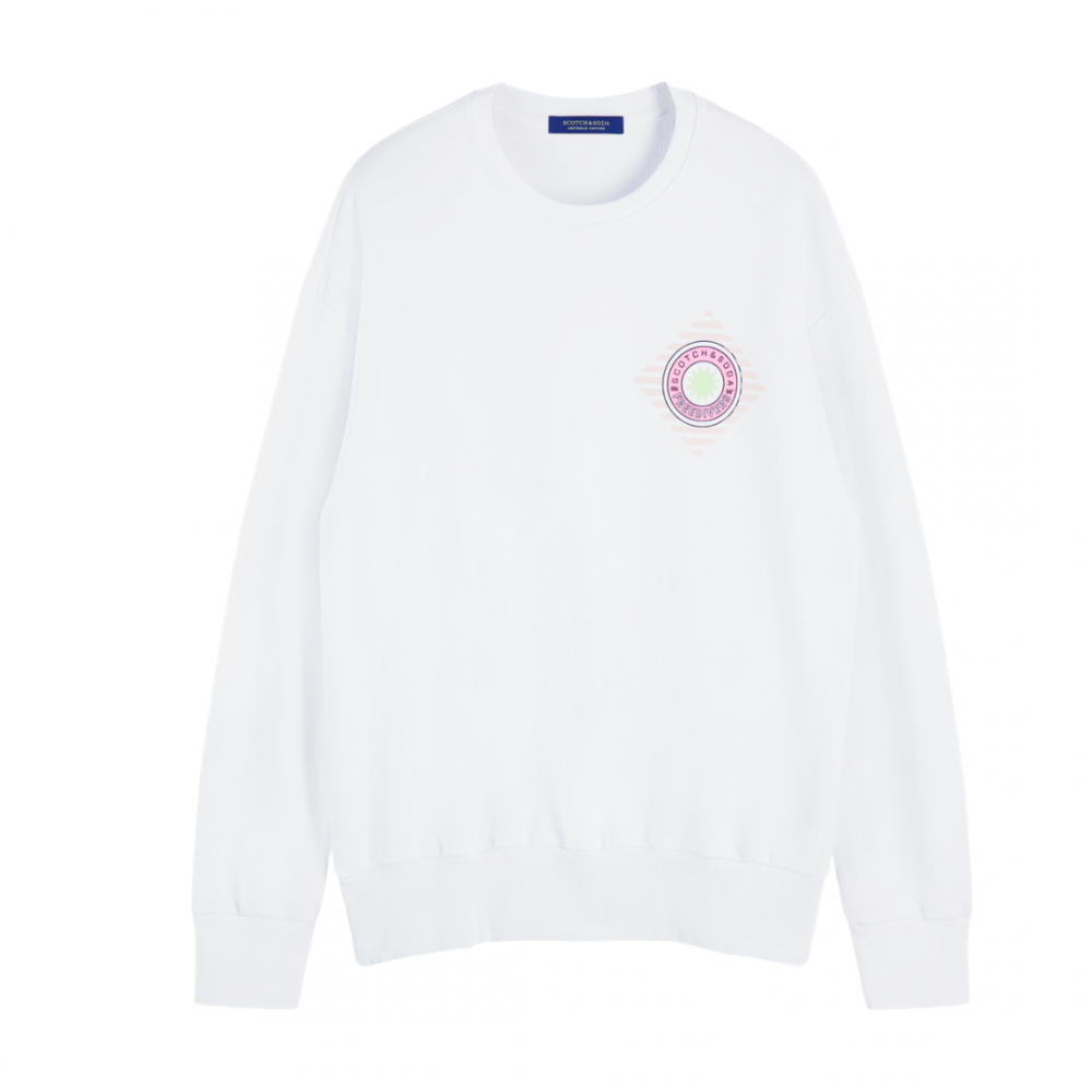 Relaxed Crewneck Sweat White Neon
