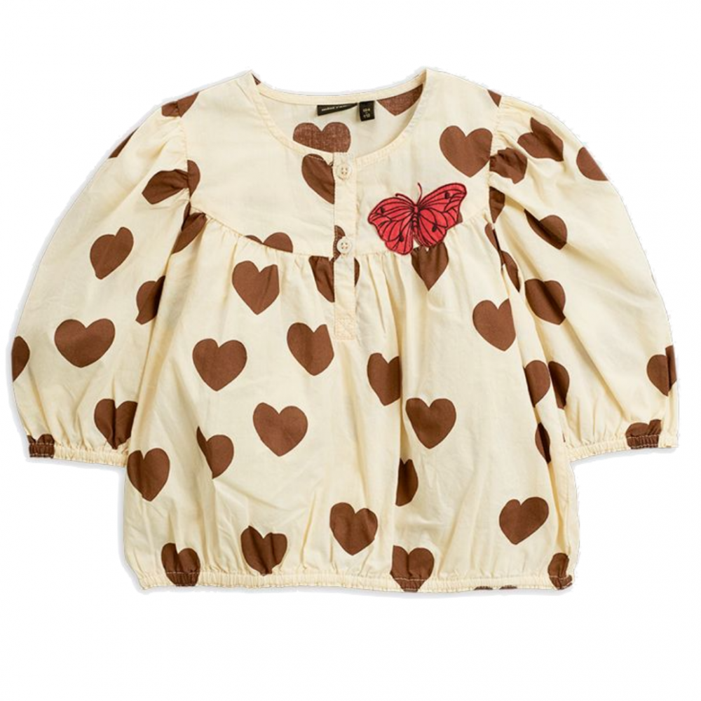 Hearts Woven Blouse Offwhite