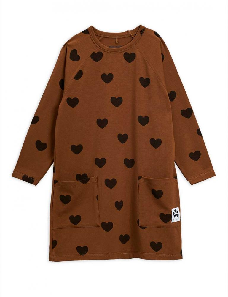 Hearts LS Dress Brown