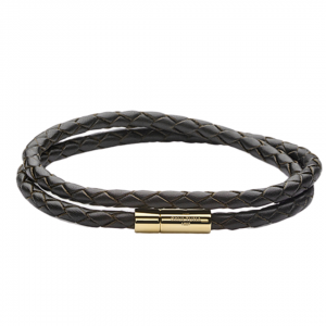 Leather Bracelet Two Rows Gold Brown 4 mm