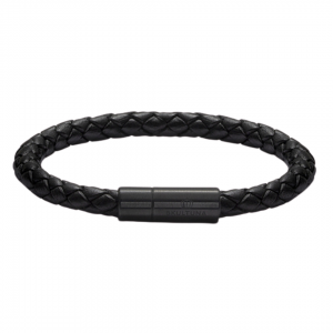 Leather Bracelet Black-Black Titanium Plated 6mm