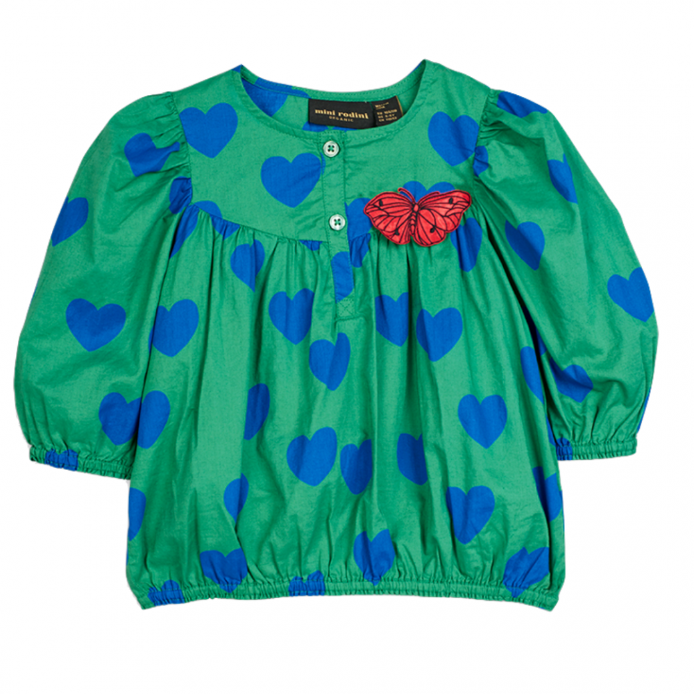 Hearts Woven Blouse Green