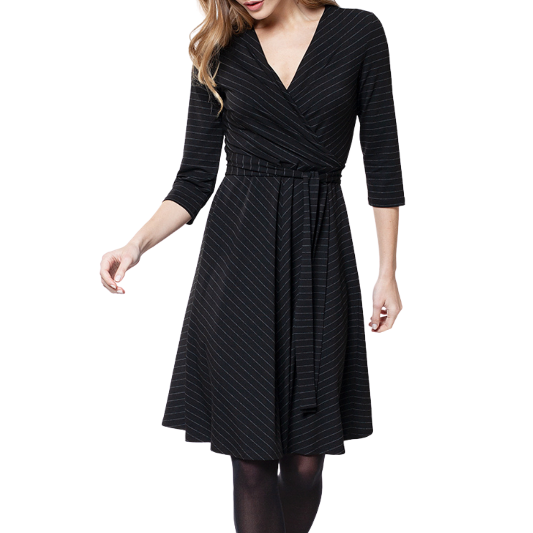 Inger Pinstripe Dress Black
