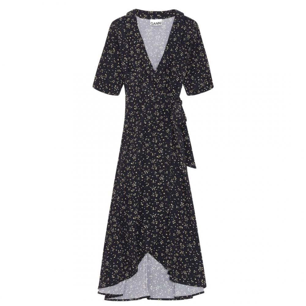 Printed Wrap Dress Black