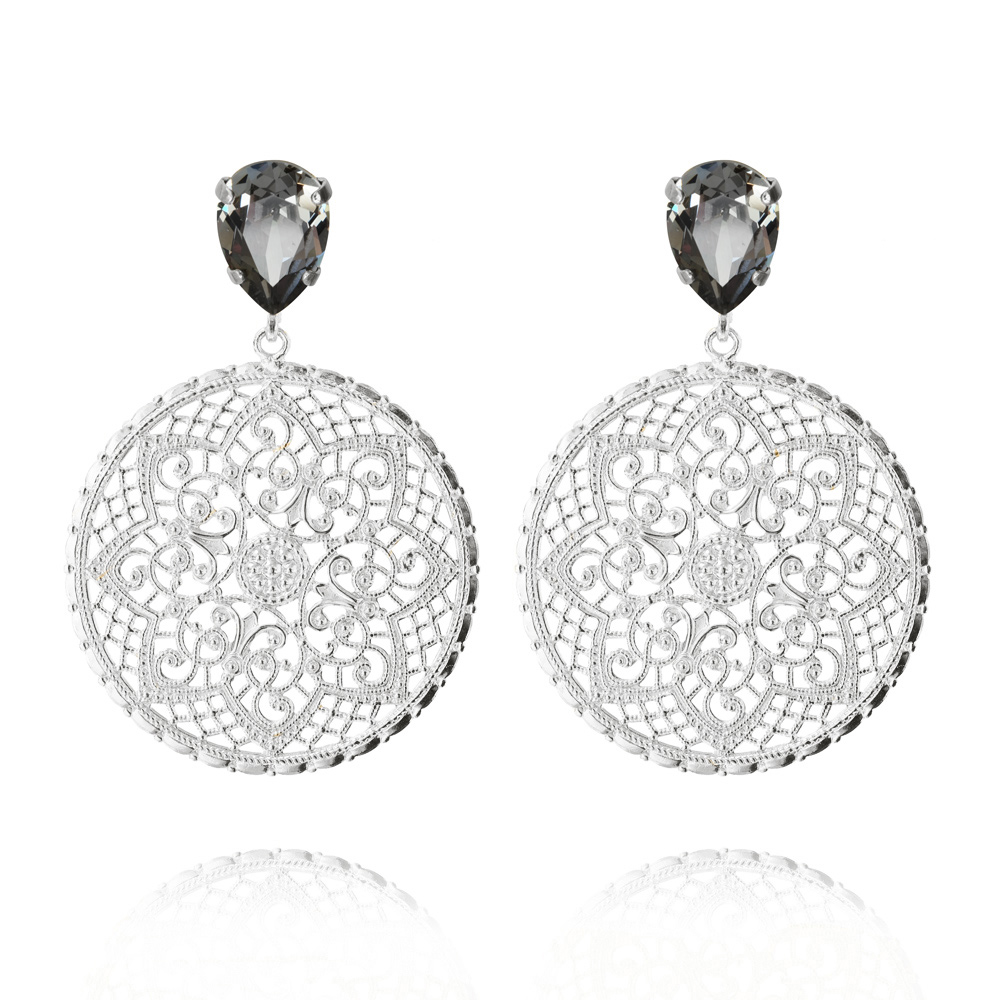 Alexandra Earrings Rhodium Black Diamond