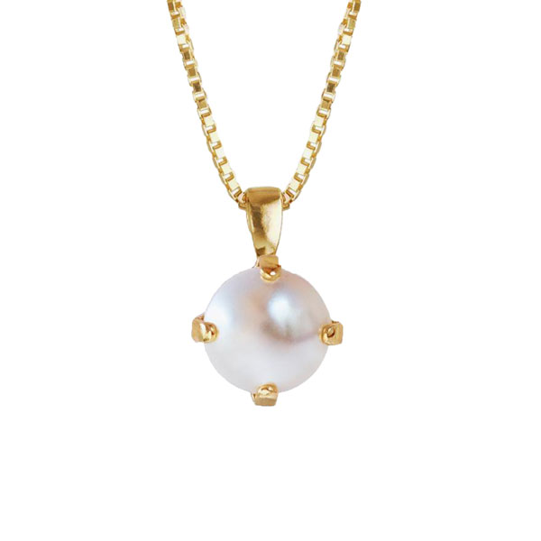 Classic Petite Necklace Gold Pearl