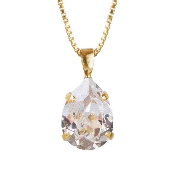 Mini Drop Necklace Gold Crystal Goldplated