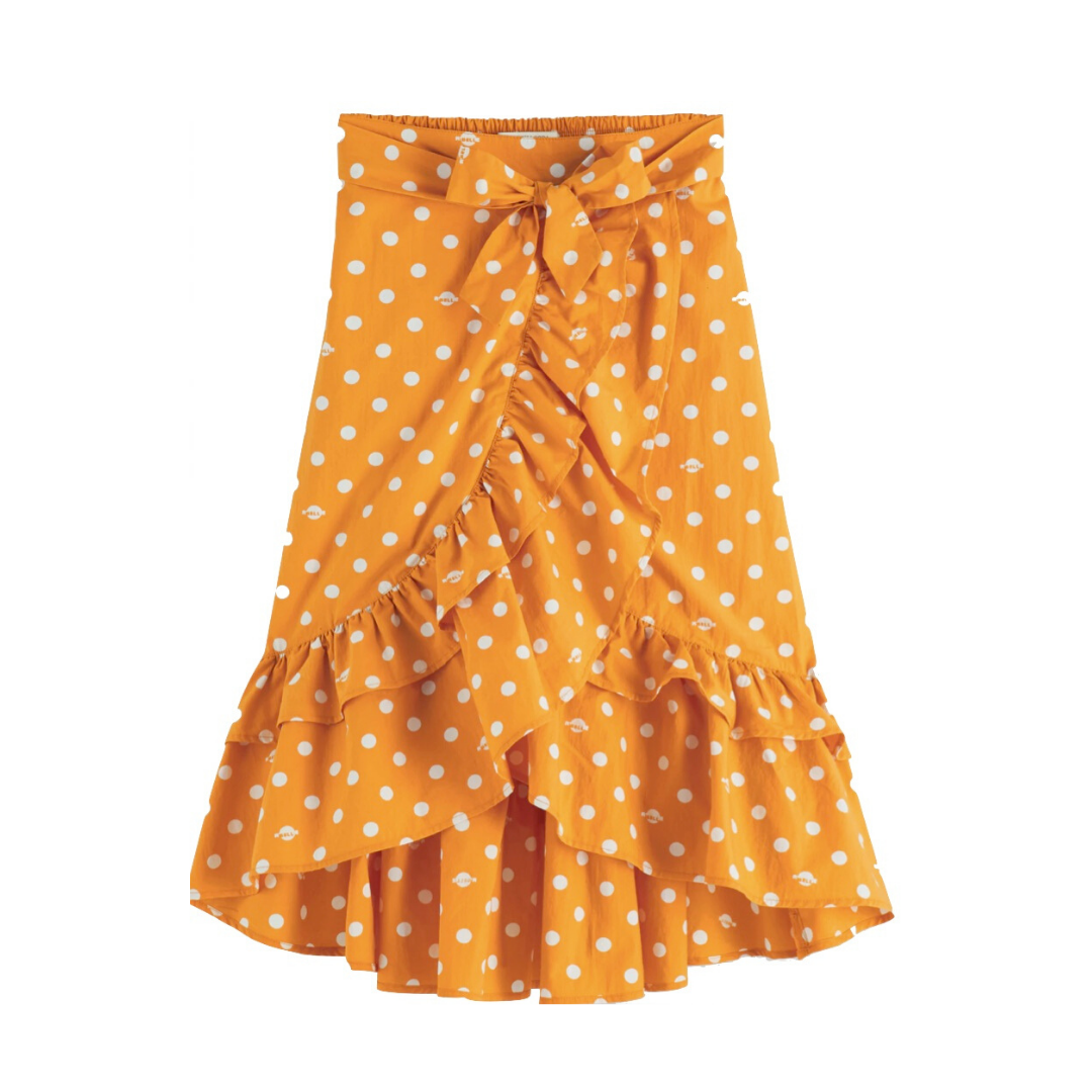 Maxi Length Wrap Skirt Yellow Dot