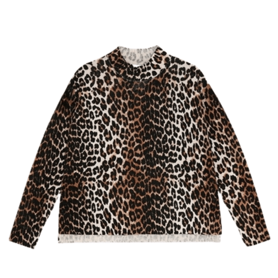 Print Knit Pullover Leopard