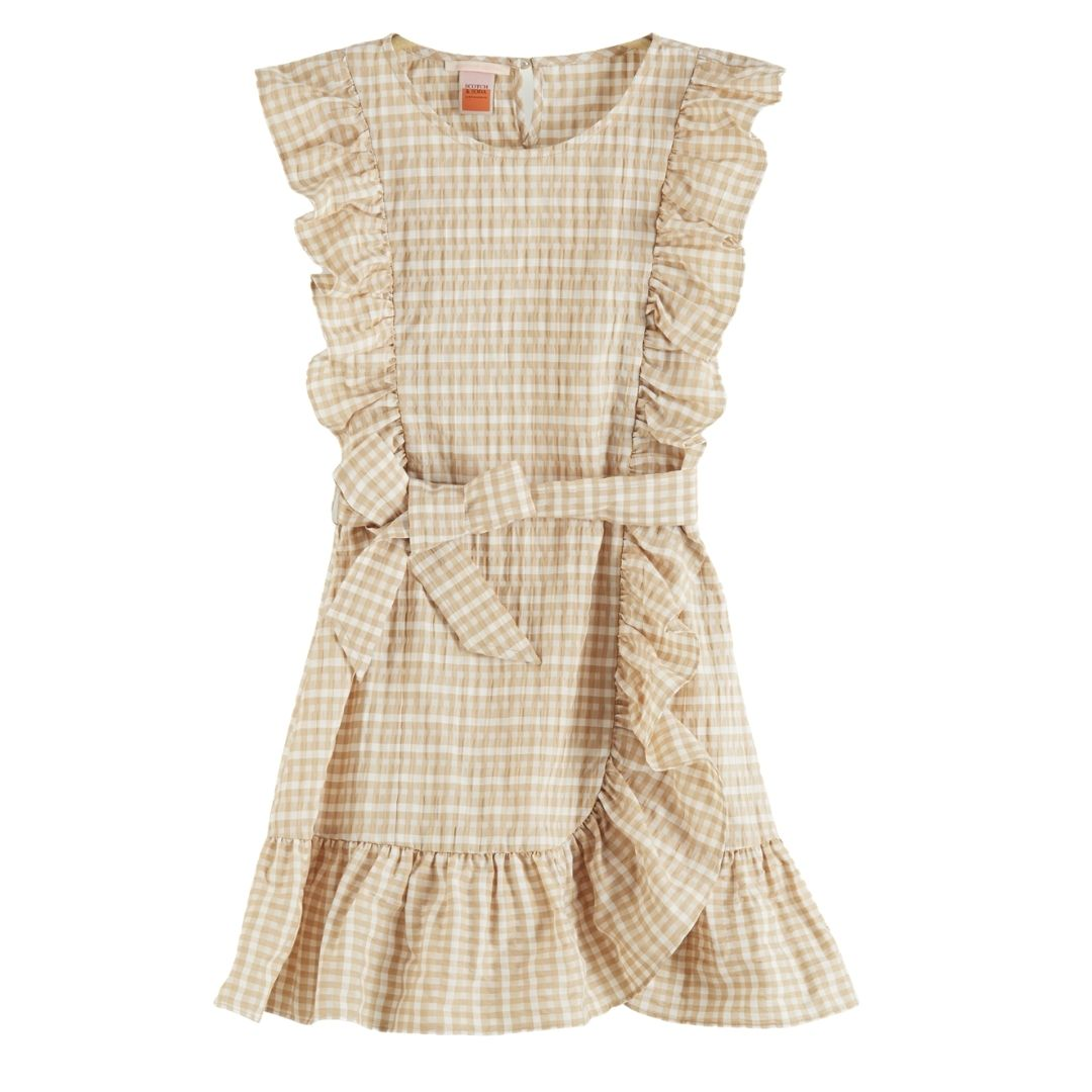 Short Seersucker Ruffle Dress Beige/ White