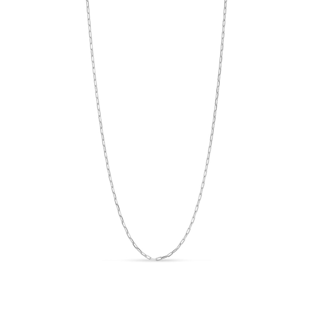 Stretched Anchor Chain Necklace Silver