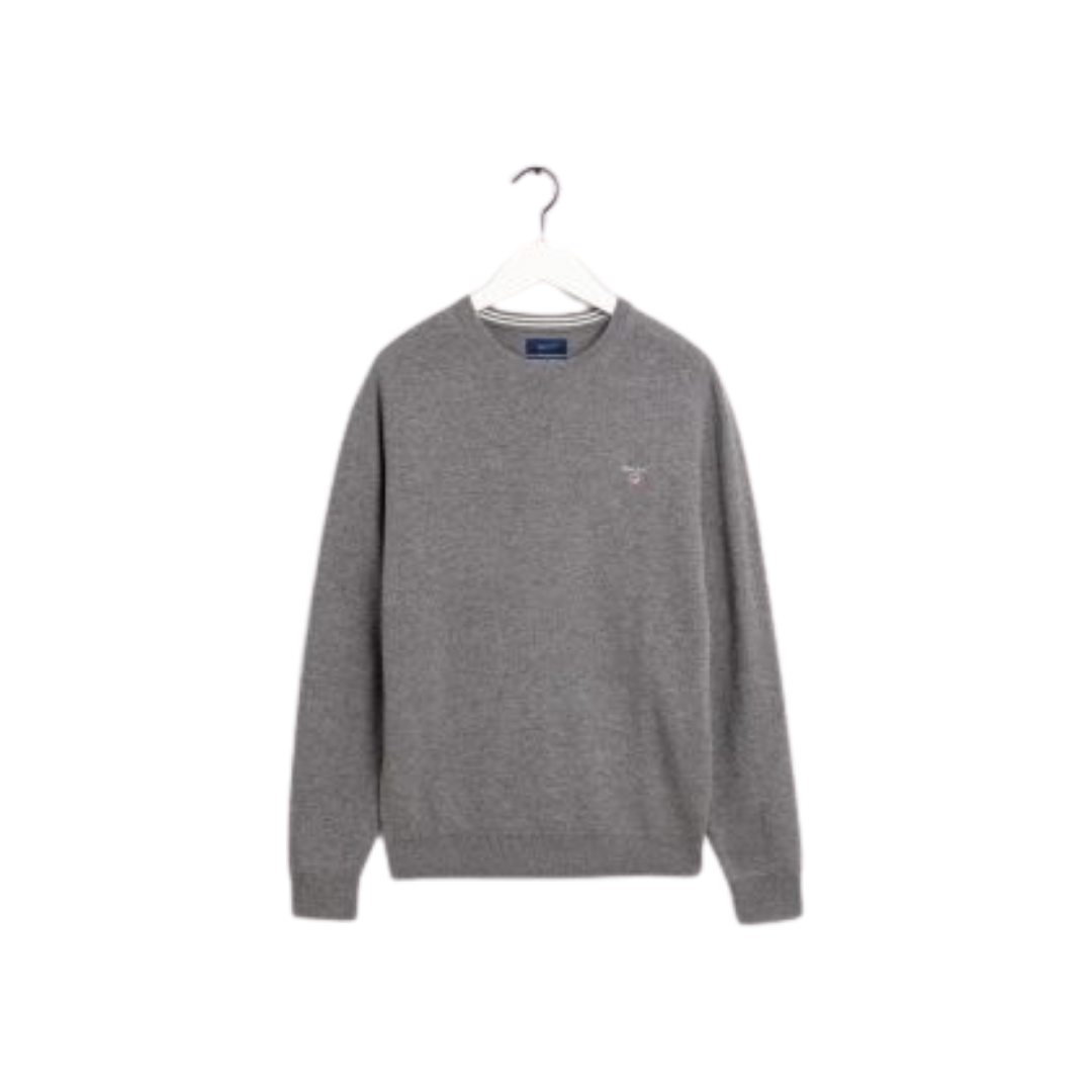 Superfine Lambswool Crew Light Grey Melange
