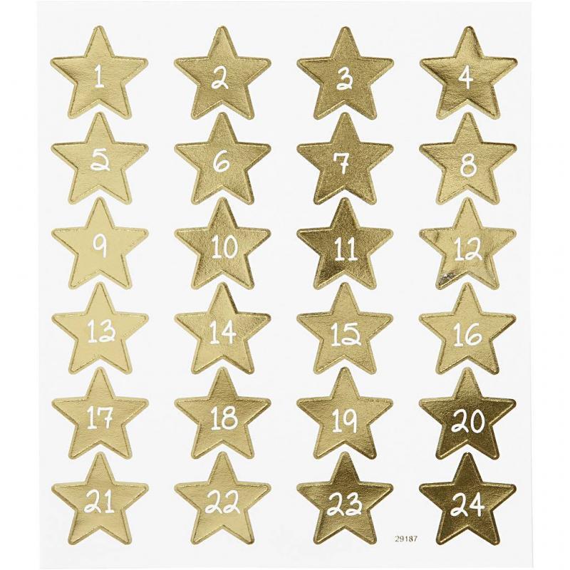Stjärn stickers till julkalender