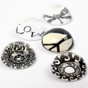 CC - 3D Cabochons vit-svart