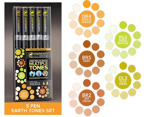 Chameleon Pen Marker - Earth Tones Set 5-pack