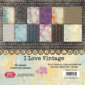 "CY - I love Vintage PaperPad 6"" x 6"""