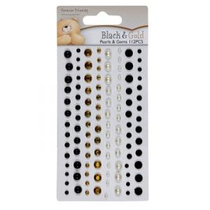 DO - ADHESIVE PEARLS AND GEMS - BLACK & GOLD