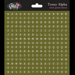 G - Teeny Alpha olive green block