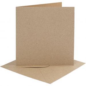 Dubbelvikta kort med kuvert, kraft