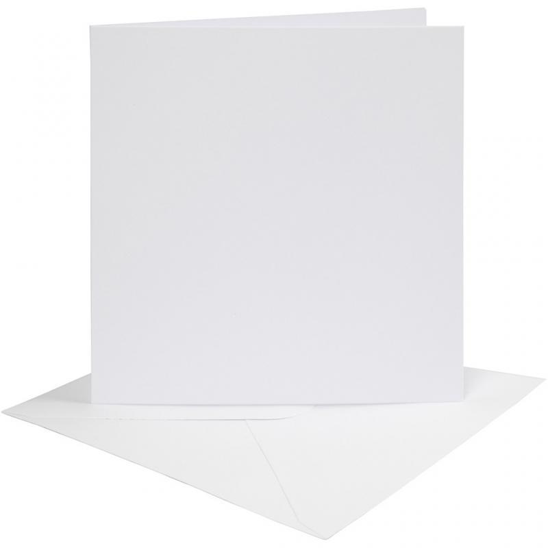 Dubbelvikta kort med kuvert, vita