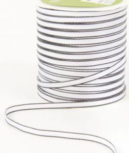 Band - Polyester vitt med svart kant