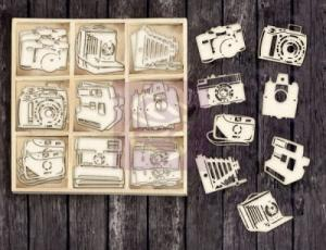 P - Laser Cut Wood Icons - Cameras