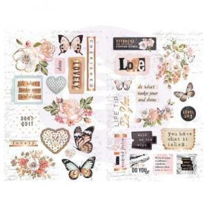 PM - Chipboard stickers, Apricot Honey