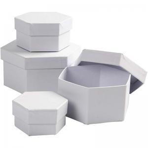 CC - Sexkantiga pappaskar 4 st vita