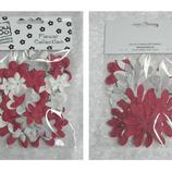 YD - Blommor red/white/grey