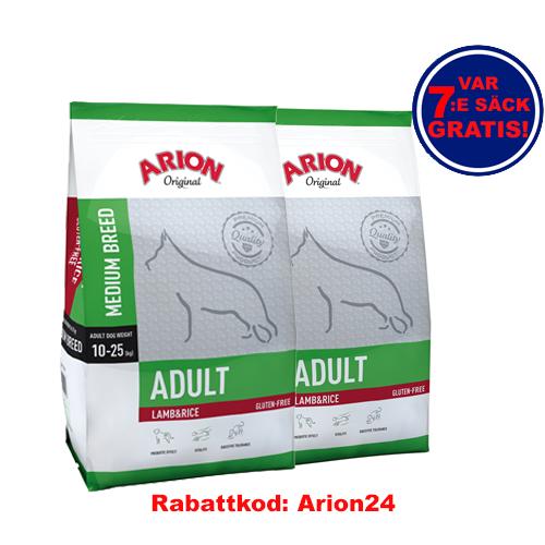 Adult Medium Lamb & Rice Arion 12Kg 2-Pack!