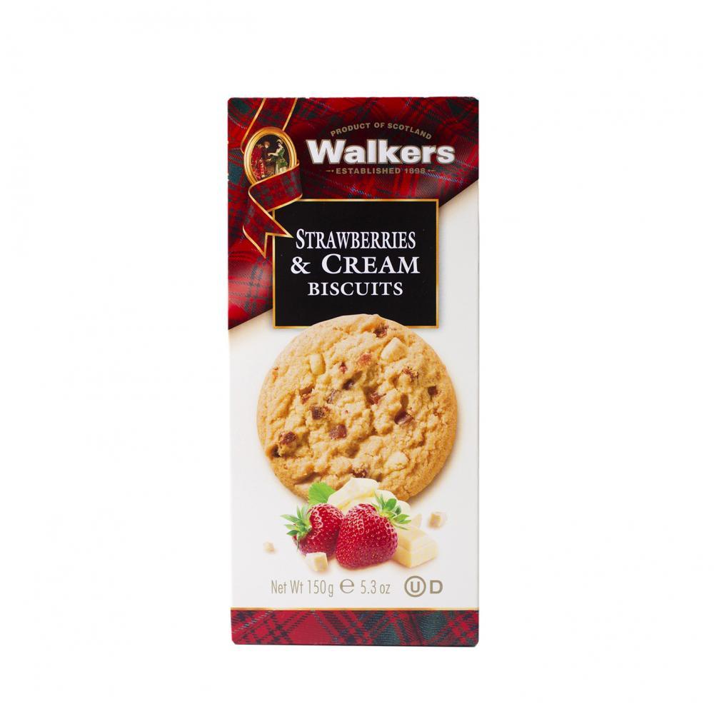 Walkers kaka med vit choklad och jordgubb