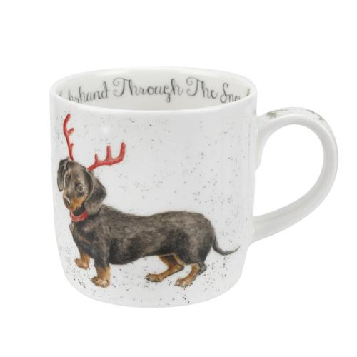 Wrendale Dachshund through the snow mugg