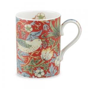 Mugg william morris strawberry thief röd
