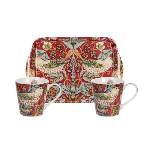 Mug & tray set william morris strawberry thief röd