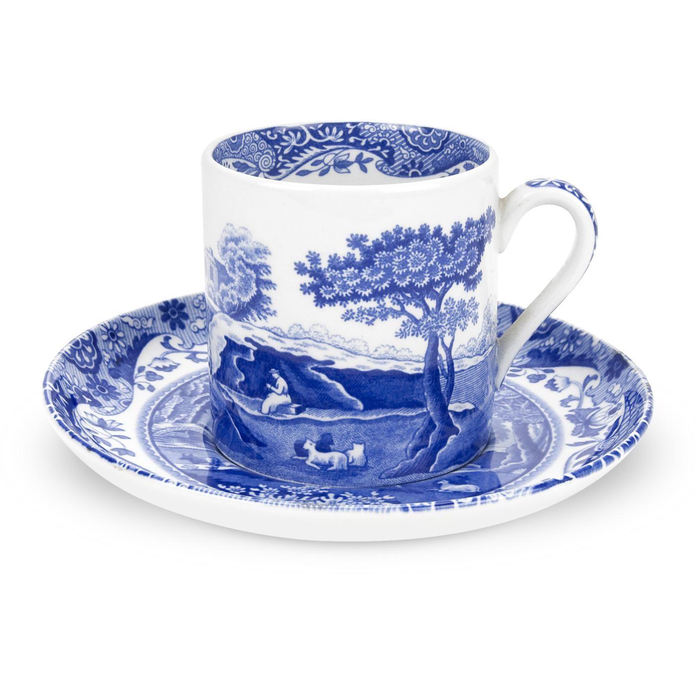 Spode Blue Italian Kaffekopp Med Fat