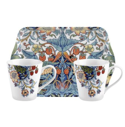 Morris Mug & Tray Set Vit/Blå
