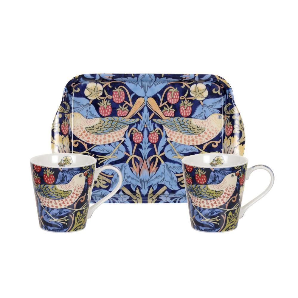 Mug & tray set william morris strawberry thief blå
