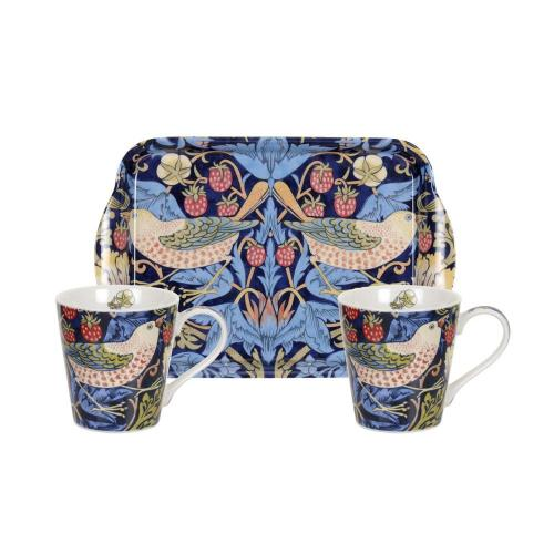 Mug & tray set william morris strawberry thief blå