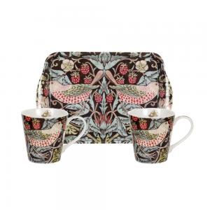 Mug & tray set william morris strawberry thief brun