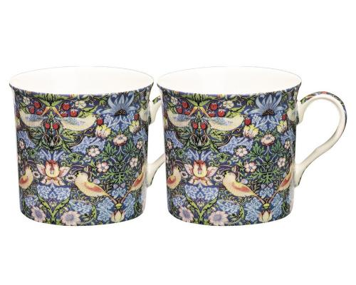 William morris mugg 2-pack strawberry thief blå