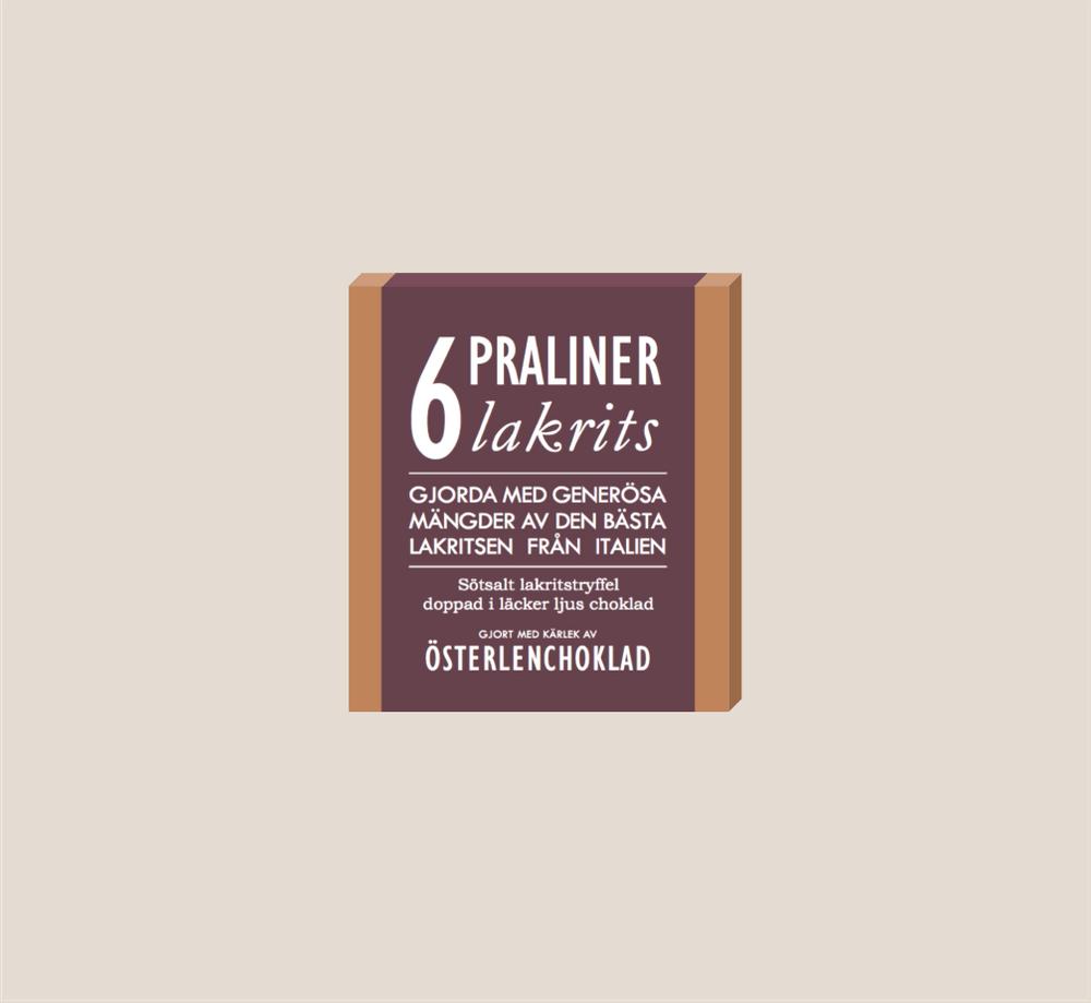 Österlenchoklad 6 praliner Lakrits
