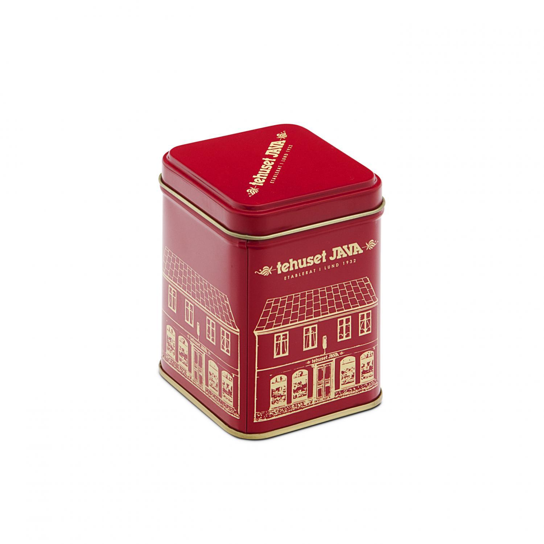 Plåtburk Tehuset Java 100g Röd