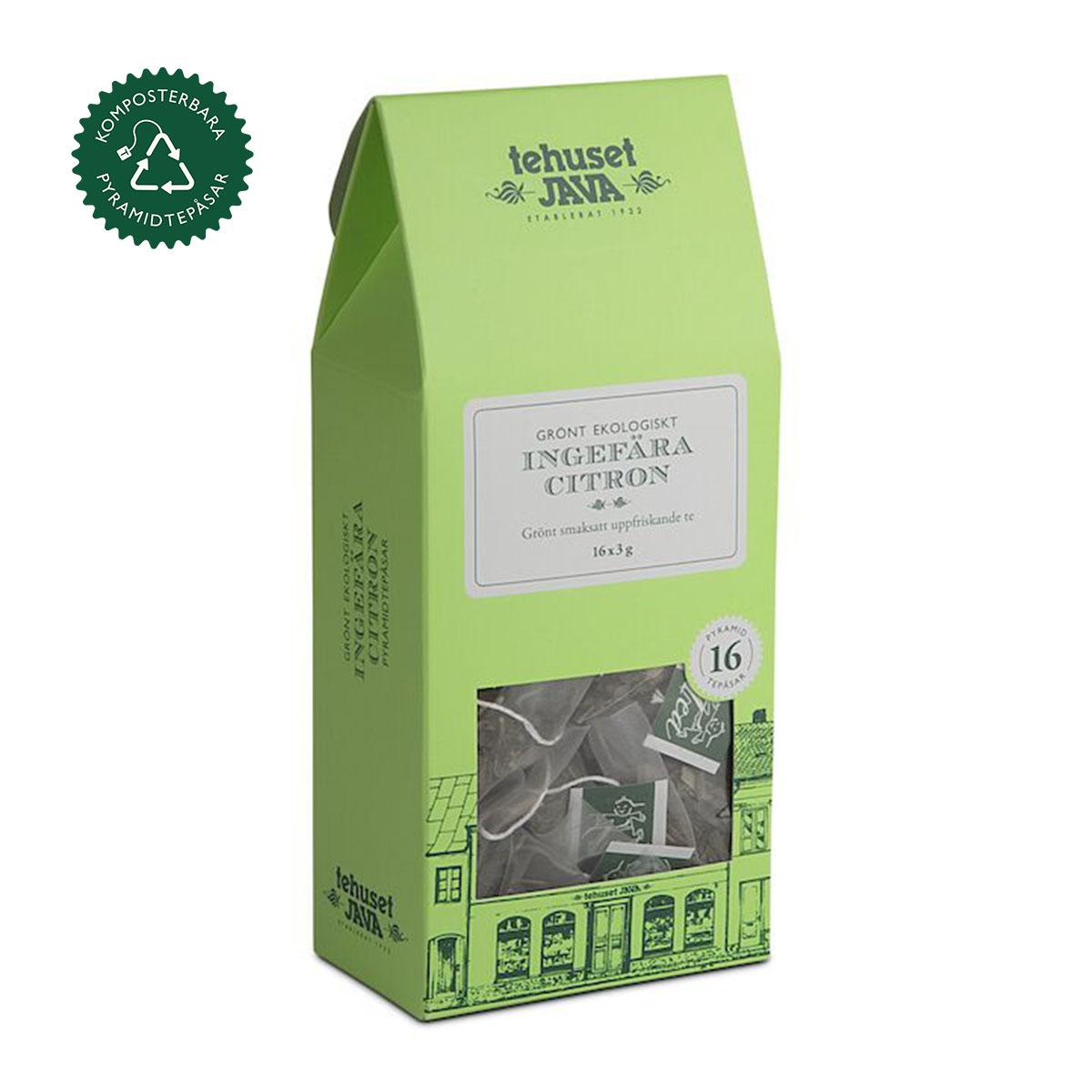 Ekologisk Grön Ingefära Citron 16 pack Tepåsar