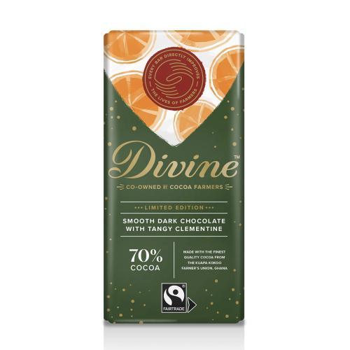 Divine Mörk Choklad 70% Syrlig Clementin 90g