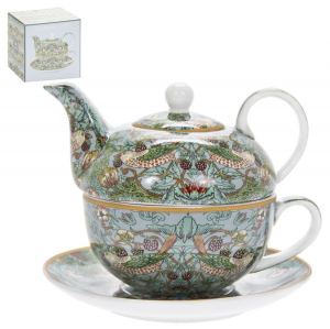 William Morris Teal Strawberry Thief Tea for one
