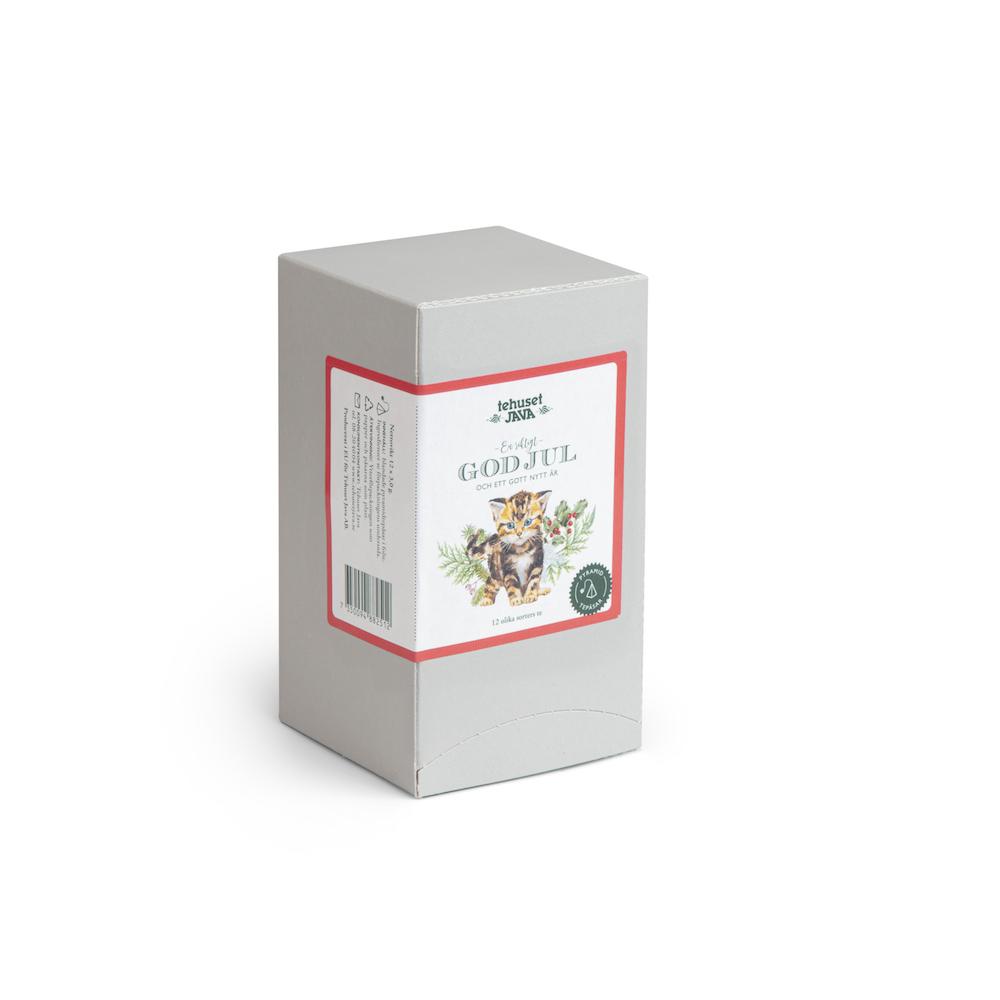 God Jul Katt Tebox med 12 olika tepåsar