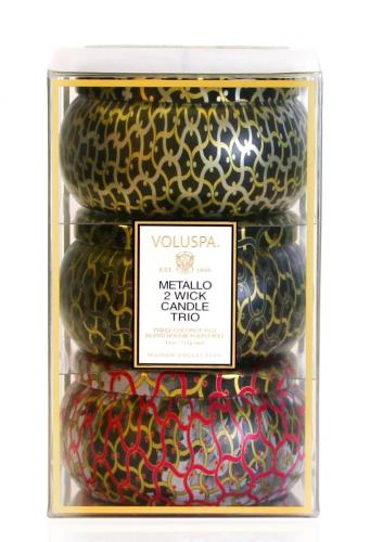 Voluspa Metallo 2 wick Gift 3-pack