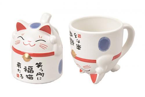Mugg Lucky Cat Blå 350ml