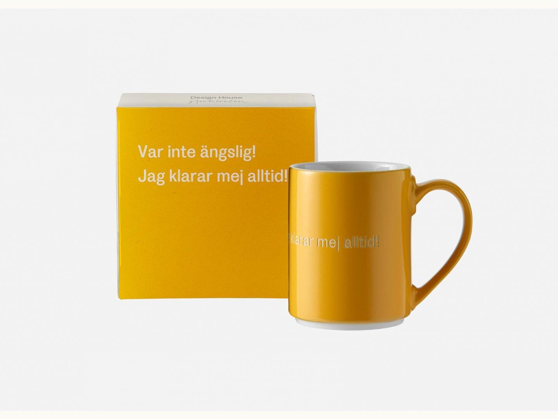 Astrid Lindgren Mugg Var inte ängslig mörk gul