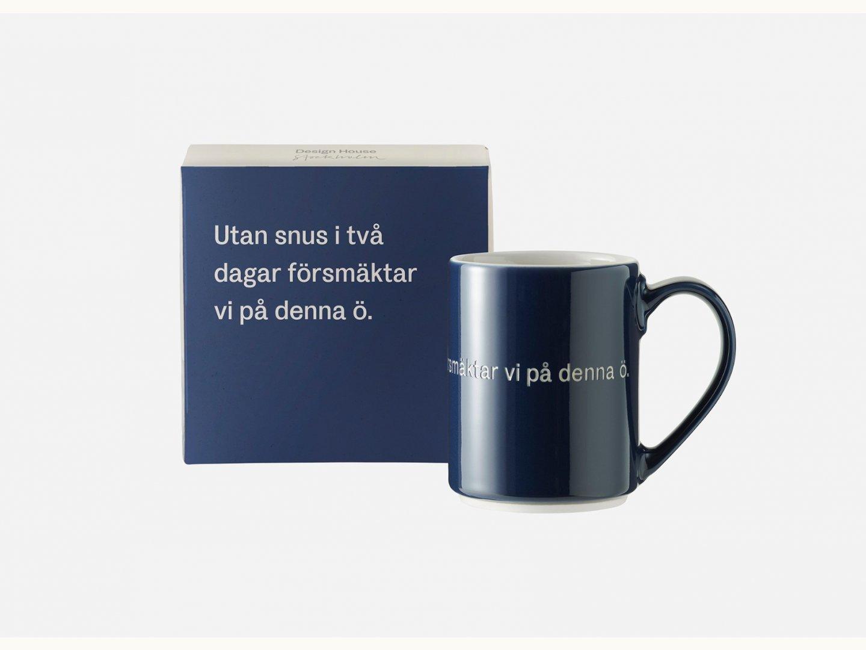 Astrid Lindgren Mugg Utan snus i två dagar blåsvart